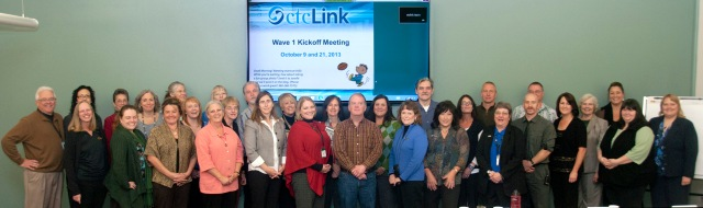 Peninsula College President Luke Robins, far left, joined ctcLink college team members and many, many subject matter experts (SMEs) from across the college for the ctcLInk Wave 1 kickoff meeting Oct 9.