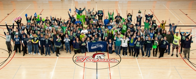 "Wow! Everett Community College sure has a large and enthusiastic ctcLink Team! Oh, wait...that's their Seahawks ""We're In!"" photo."