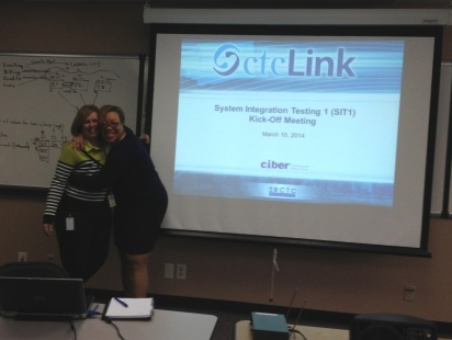 "The ctcLink Testing Team is ""so excited"" testing has begun. Maureen Avery, ctcLink/SBCTC Testing Lead is at left and Ciber's Testing Lead, Tawana Williamson, is on the right."
