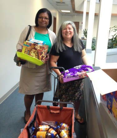 Mary Chikwinya and Silvia Barajas of TCC surprised FirstLink College subject matter experts by dropping in with a wagon full of treats and refreshments during the Hands On sessions held at SBCTC Bellevue the last week in August.