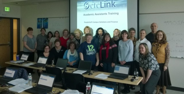 This week in Spokane, Rebecca Meeder (far right, front) led the ctcLink training for administrative assistants who work in instructional/academic departments.