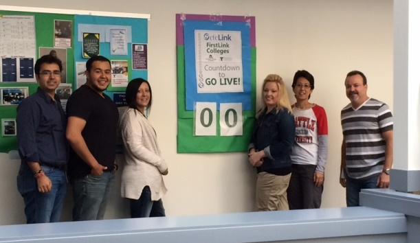 No days 'til go live! The Financial Aid Team pulled a couple all-nighters Cutover Weekend and they were still up for a photo shoot. From Left: Neeraj Kripalani, Ciber; Luis(Tony) Rivera, Ciber; Rachelle Russell, SBCTC; Jodi Sharpe, SBCTC; Kim Wasierski, SBCTC; Jerry Perez, Ciber.